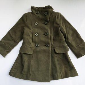 Zara Kids Army Green Wool Peacoat Girls 110 4-5